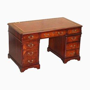 Flamed Hardwood Oxblood Leather Twin Pedestal Partner Desk