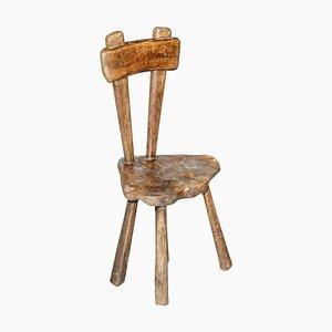 Chaise de Traite Primate Sculptée à la Main en Châtaignier, France, 1760s