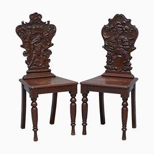 Vintage English Oak Hall Chairs Depicting King & Gentleman, Set of 2