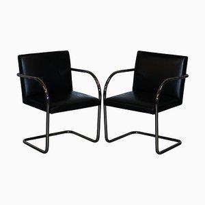 Vintage Brno Armlehnstühle aus schwarzem Leder & Chrom von Walter Knoll, 2er Set