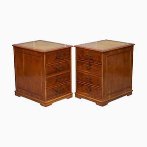 Burr Yew Wood Filing Cabinets with Green Leather Tops, Set of 2