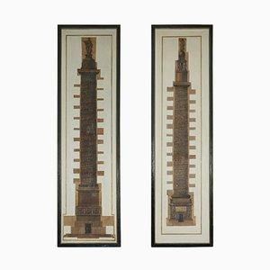 Tall Prints on Canvas Italian Trajan & Roman Column Pillars, Set of 2