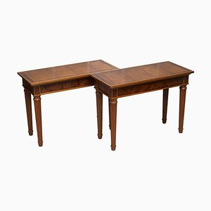 Stamped Burr Walnut Console Tables from David Linley, 1993, Set of 2
