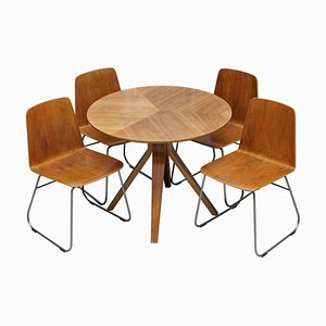 Mid-Century Modern Bent Plywood Dining Table and Chairs with Chrome Bases, Set of 5