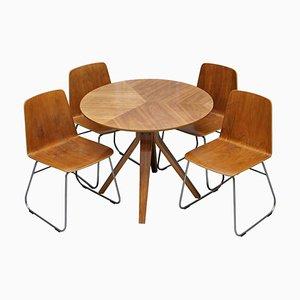 Mid-Century Modern Sperrholz Esstisch und Stühle mit Chrom Gestellen, 5er Set