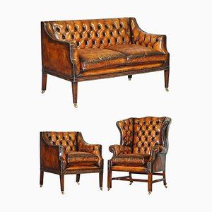 Poltrona Chesterfield Wingback in pelle marrone con divano, set di 3