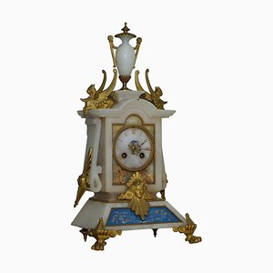 French Hand Painted & Gilded Mantel Clock in Alabaster, 1850s