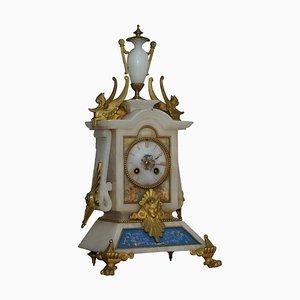 Horloge de Cheminée Peinte à la Main et Dorée en Albâtre, France, 1850s