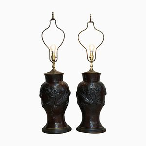 Vintage Chinese Export Bronze Table Lamps, Set of 2