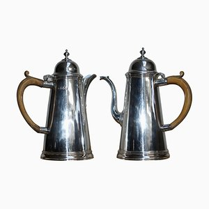 Britannia Sterling Silver Coffee Pots from Harry Freeman, 1912, Set of 2