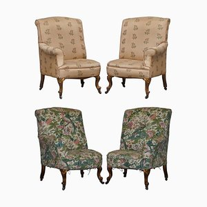 Victorian Asymmetrical Armchairs in Giltwood with Embroidered Bird Covers, Set of 2