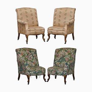 Viktorianische Asymmetrische Armlehnstühle aus Vergoldetem Holz mit Bestickten Vogel Bezügen, 2er Set