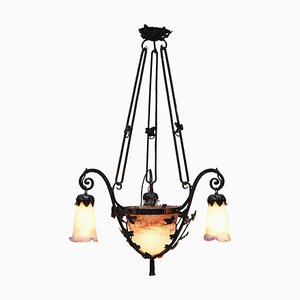 Art Nouveau Glass & Wrought Iron Chandelier from Muller Frères