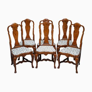 18th Century Dutch Elm Marquetry Inlaid Dining Chairs, 1760s, Set of 6