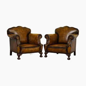Large Victorian Cigar Brown Leather Armchairs with Claw & Ball Feet, Set of 2