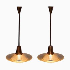Lámparas de araña Mid-Century modernas de cobre con pantallas de vidrio. Juego de 2