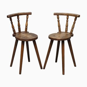 18th Century Country House Chairs in Pine, 1780s, Set of 2
