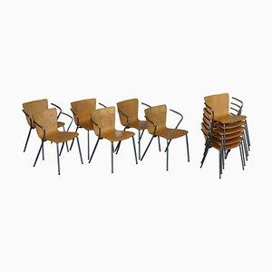 Poltrone impilabili vintage in legno curvato di Vico Magistretti per Fritz Hansen, set di 6