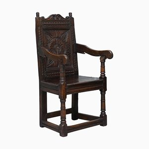 17th Century Wainscot Armchair in Oak, Northern England