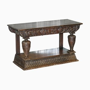 17th Century Italian Hand Carved Oak Console Table