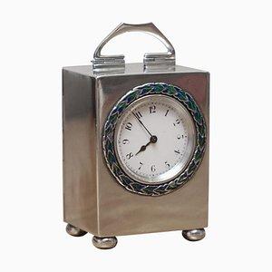 Sterling Silber & Emaille Miniatur Wagen Uhr von Archibald Knox für Liberty of London
