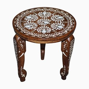 Anglo-Indian Export Elephant Side Table in Hardwood with Floral Inlay