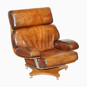 Hand Dyed Brown Leather Armchair