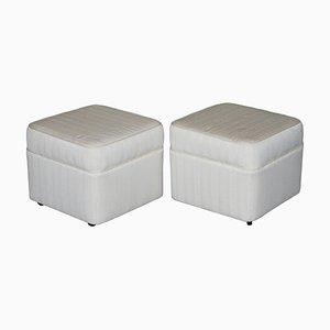 Mid-Century Upholstered Footstools on Castors, Set of 2