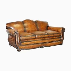 Gentleman's Club Moustache Back Sofa in Brown Leather