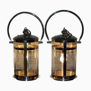 Cylindrical Glass & Chrome Storm Lanterns, Set of 2