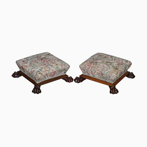 Victorian Hardwood Lion's Paw Footstools in Floral Upholstery, Set of 2