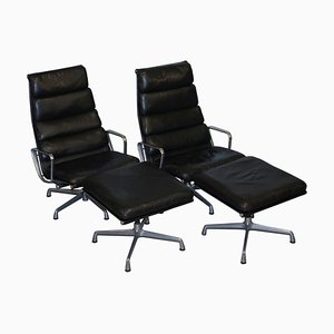 Leather EA 222 Lounge Armchairs & Ottomans by Eames for Herman Miller, Set of 4