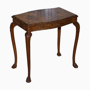 Vintage Burr Walnut Side Table with Ornately Carved Frame Lion Feet