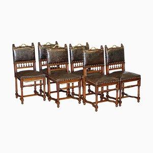 Französische Henry II Esszimmerstühle aus Eiche & geprägtem Leder in Löwen-Optik, 1880er, 6er Set