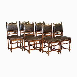 French Henry II Oak & Embossed Leather Lion Dining Chairs, 1880s, Set of 6