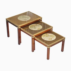 Military Campaign Nesting Tables with World Maps, Set of 3