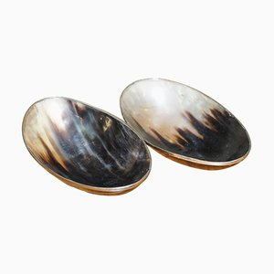 Vintage Horn Bowls with Silver Trim Edges, Set of 2
