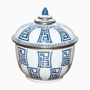 Dekorativer chinesischer Vintage Porzellantopf mit Deckel