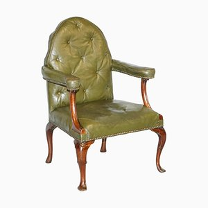 Georgian Irish Gothic Revival Chesterfield Armchair in Leather, 1800s