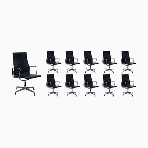Black Leather Swivel Office Chairs from Vitra