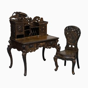 Chinese Export Dragons Phoenix Bird Writing Desk and Matching Chair, Set of 2