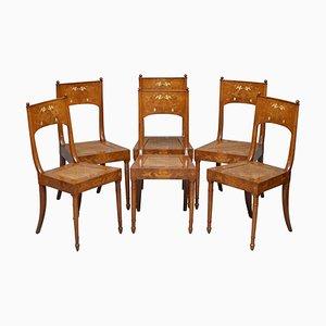 Italienische Putti Cherub Angel Esszimmerstühle mit Intarsien, 19. Jh., 6er Set