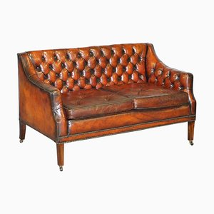 Whisky Brown Leather Sofa, 1900s