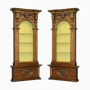 18th Century Baroque Walnut & Parcel Gilt Library Bookcases with Cherubs, Set of 2