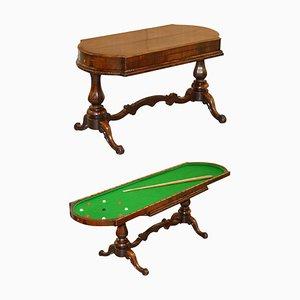 Früher viktorianischer Bagatelle Tisch aus Hartholz mit verzierter Schnitzerei