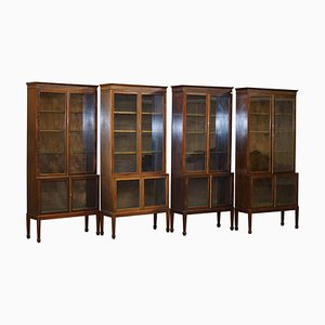 Oxford Library Victorian Bookcases in Hardwood, Set of 4