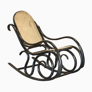 Vintage Ebonized Black Rattan Bergere Rocking Chair from Thonet