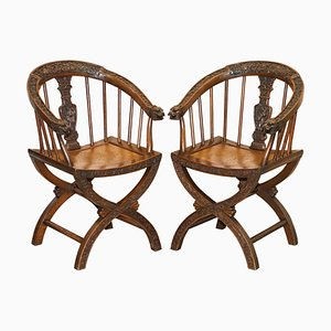 Anglo Chinese Hand Carved Savonarola Armchairs, 1900s, Set of 2