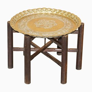 Antique Moroccan Brass-Topped Folding Table, 1900s
