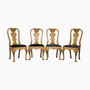 Walnut Queen Anne Dining Chairs, Set of 4